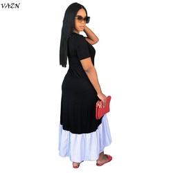 VAZN 2018 New Arrive Famous Brand Women Casual Dress Solid  O-Neck Short Sleeve Loose Maxi Dress Vestido SMR8872 4