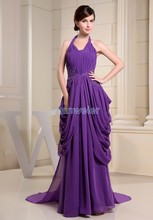 free shipping fashion 2013 zuhair murad dresses new design halter embroidery customize size/color chiffon long evening