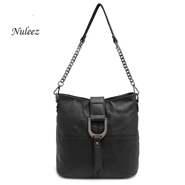 Nuleez Bucket Red Black Beige Shoulder Strap Bag Real Leather Chain Bag Cross Body Women Leather Handbags Cow Leather Bag 9101