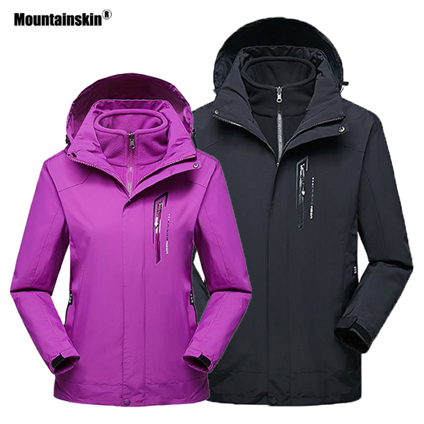 Mountainskin Men Women 2 Pieces Winter Fleece Thermal Jacket Outdoor Sport Windbreaker Hiking Skiing Camping Warm