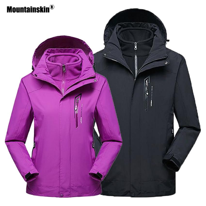 Mountainskin Men Women 2 Pieces Winter Fleece Thermal Jacket Outdoor Sport Windbreaker Hiking Skiing Camping Warm Coats VA324