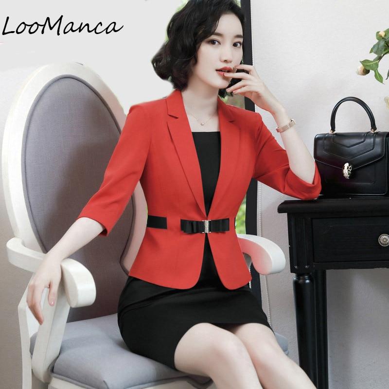 Business OL blazers women slim fashion black white red half sleeve plus size jacket coat formal office ladies work wear