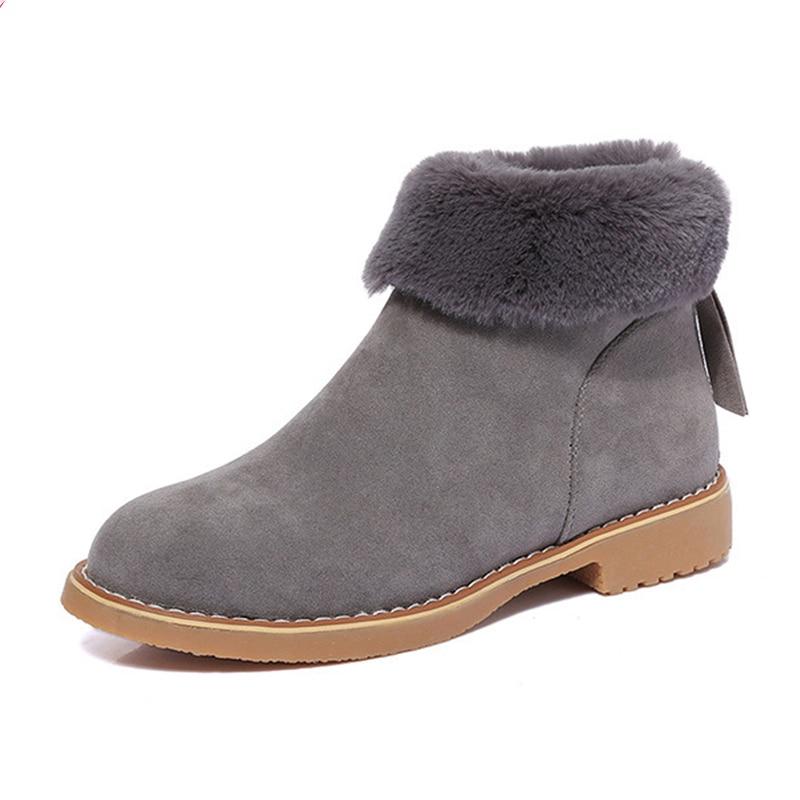 gris Pieles Botines khaki Botas Animales Para Caliente Ronda Mujeres Flock Nieve Mujer De toe Negro Cuero Invierno Zapatos TaSEq