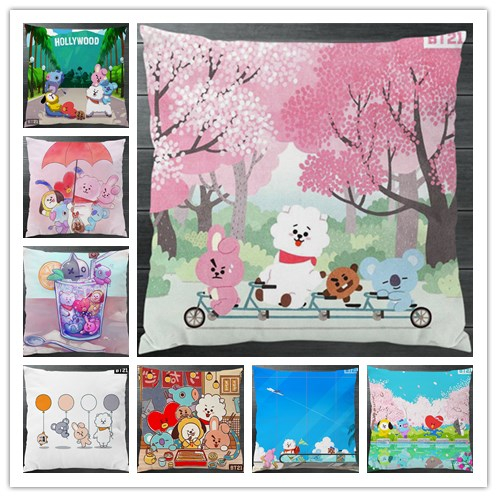 7d98cbb11dfd BT21 BTS TATA SHOOKY RJ KOYA CHIMMY COOKY MANG Cartoon Fanart 40 40cm Two  Sides Pillowcase Pillow Case Cover Cosplay Gift Decor-in Anime Costumes  from ...