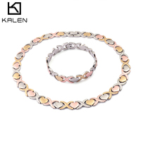 KALEN Fashion Stainless Steel Jewellery Sets For Women Tri Color Bracelet & Necklace Sets Bohemia Heart Bijoux Jewelry Gifts