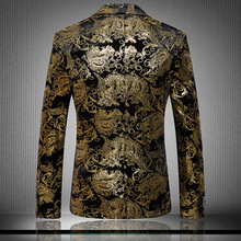 Luxurious Gold Suits Mens Print Blazer Casual Floral Jacket