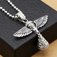 S925 sterling silver jewelry angel wings bell pendant (FGL)