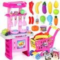 LChildren ToysKitchen Utensílios de Cozinha E Talheres Menina Música Comida Simulação para Crianças Cozinha Pretend Play Set Brinquedos Vegetais