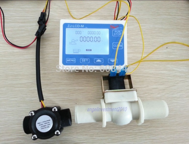 G1/2 Flow Rate Water Sensor Meter+LCD Digital Display Control Total Litres Hall