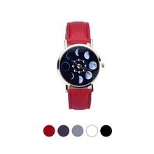Accurate  Hot sale watch Women Lunar Eclipse Pattern Leather Analog Quartz Wrist Watch relogio feminino