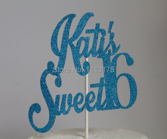 Personalized Glitter Sweet 16 Birthday Cake Topper Glitter