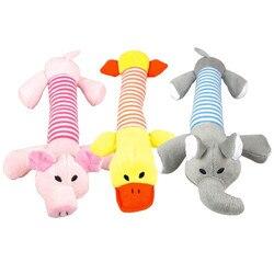 1 pc pelúcia/borracha cão mastigar guinchar brinquedos porco elefante pato corda do animal de estimação brinquedos filhote de cachorro som brinquedo treinamento interative lance pegar brinquedo de osso