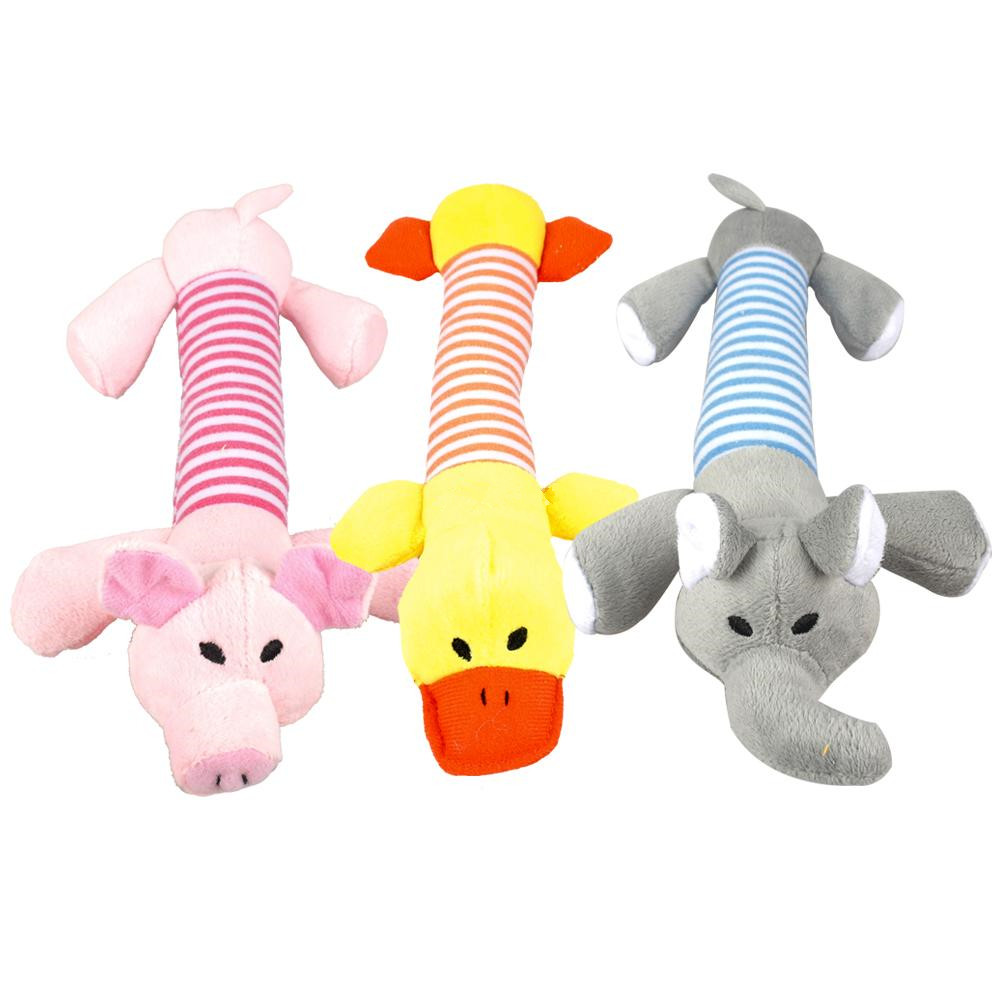 1pc Plush/rubber Dog Chew Squeak Toys Pig Elephant Duck Pet Rope Toys Puppy Sound Toy Training Interative Throw Pick Up Bone Toy