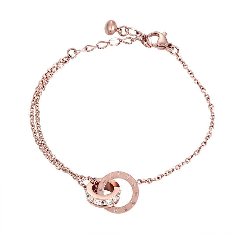 חדש למעלה איכות יפה מבריק מעגל קריסטל מעגל רומי ספרה צמיד לאישה נירוסטה צמיד תכשיטי אישה