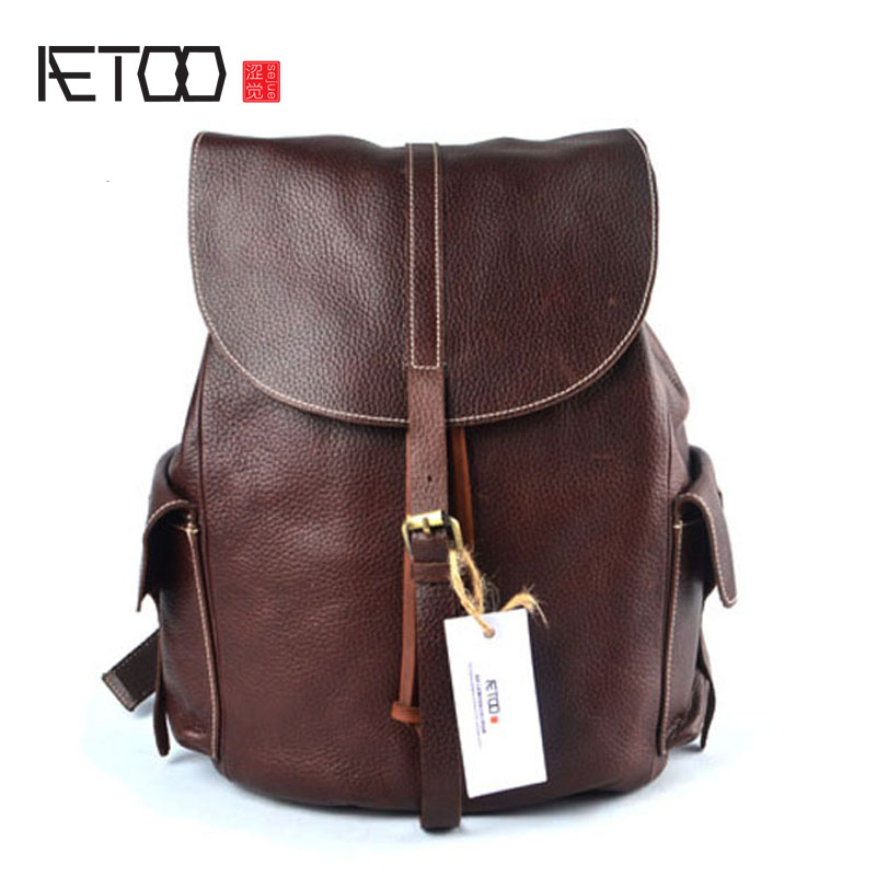 AETOO Leather shoulder bag men and women common first layer of leather backpack skin feel good aetoo leather men bag wild european and american first layer of leather men s shoulder bag trend backpack