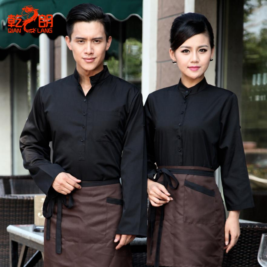 00db67d7424 Long-sleeved cafes catering fast food restaurant waiter uniforms hotel  uniforms for male and female long-sleeved winter clothes