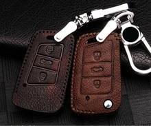 Car Leather Key Cover Case For Volkswagen Polo MK6 CC B5 B8 Golf7 Passat Tiguan MK2 Touran Golf 6 Accessories