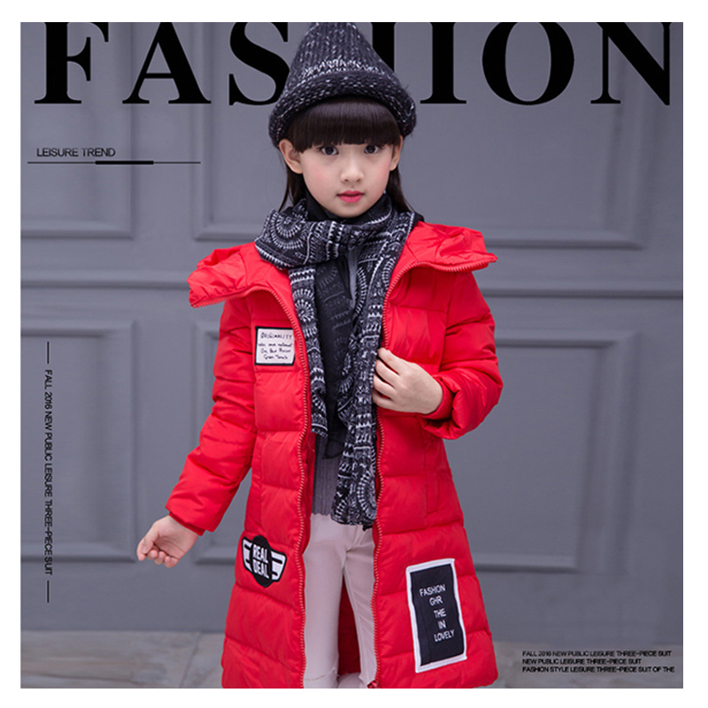 Girl's cotton coat autumn and winter in Europe and the United States in the long thick section of long cotton clothing sky blue cloud removable hat in the long section of cotton clothing 2017 winter new woman