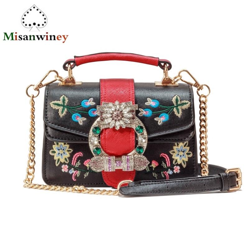 Luxury Brand 2018 Diamond Gem Rivets Women Flowers Embroidery Leather Handbag Chain Shoulder Bags Famous Designer Handbags Totes цена и фото