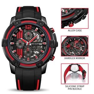 Image 4 - Relojes 2020 MEGIR Watch Men Luxury Chronograph Silicone Waterproof Sport Military Mens Watches Analog Quartz Relogio Masculino