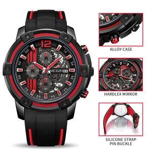 Image 4 - Relojes 2020 MEGIR zegarek męski luksusowy chronograf silikonowy wodoodporny Sport wojskowy męskie zegarki analogowy kwarcowy Relogio Masculino