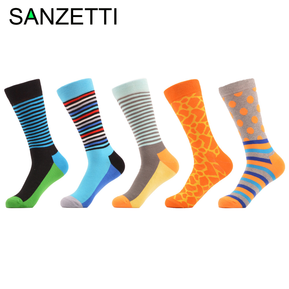 SANZETTI 5 pairs/lot Mens Funny Spring Autumn Combed Cotton Stripe Dots Socks Novelty Casual Wedding Socks for Christmas Gifts