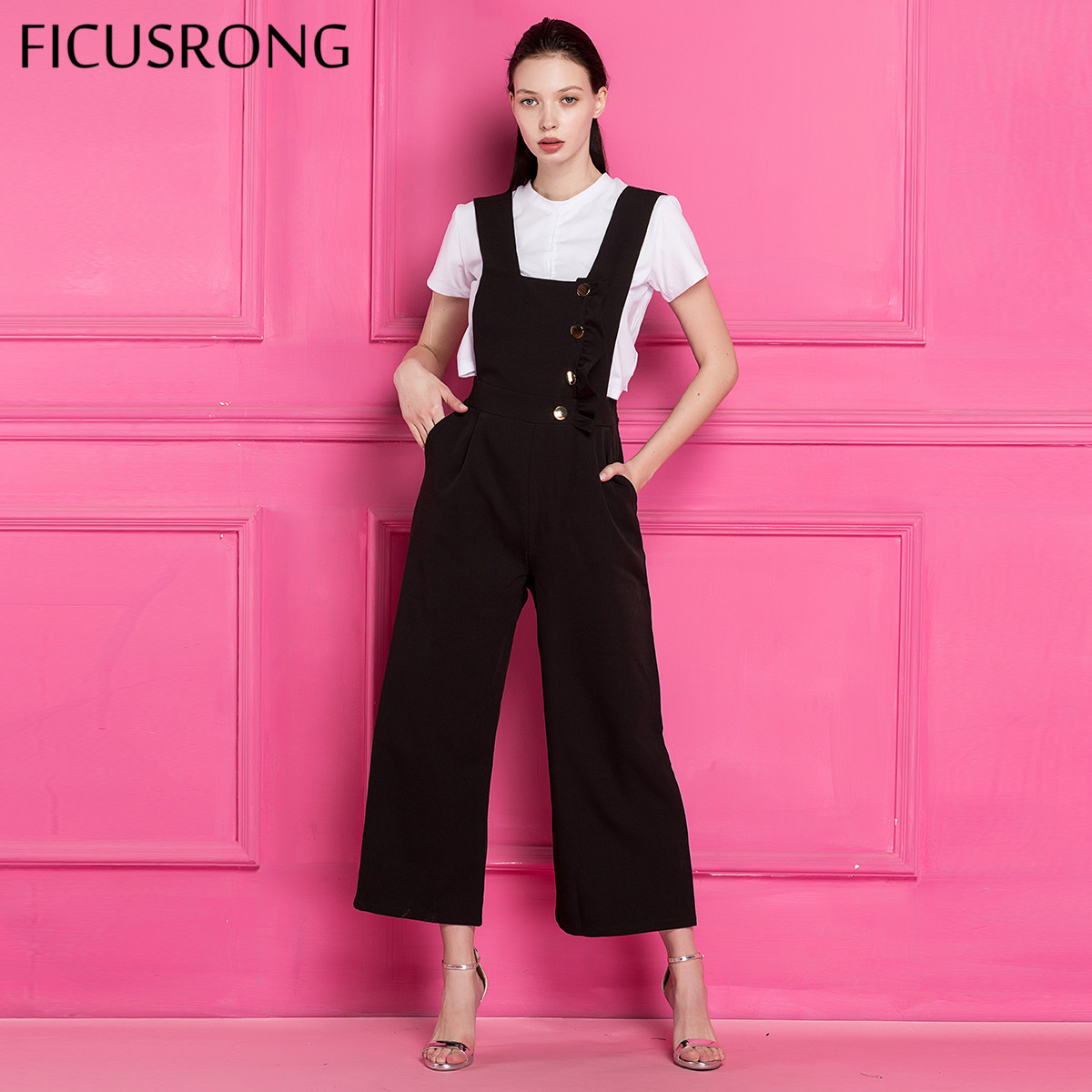 FICUSRONG 2018 Women Jumpsuit Layered Overalls Spring Autumn Black Buttons Strap Ripped Pockets Ankle Length Pants Jumpsuit