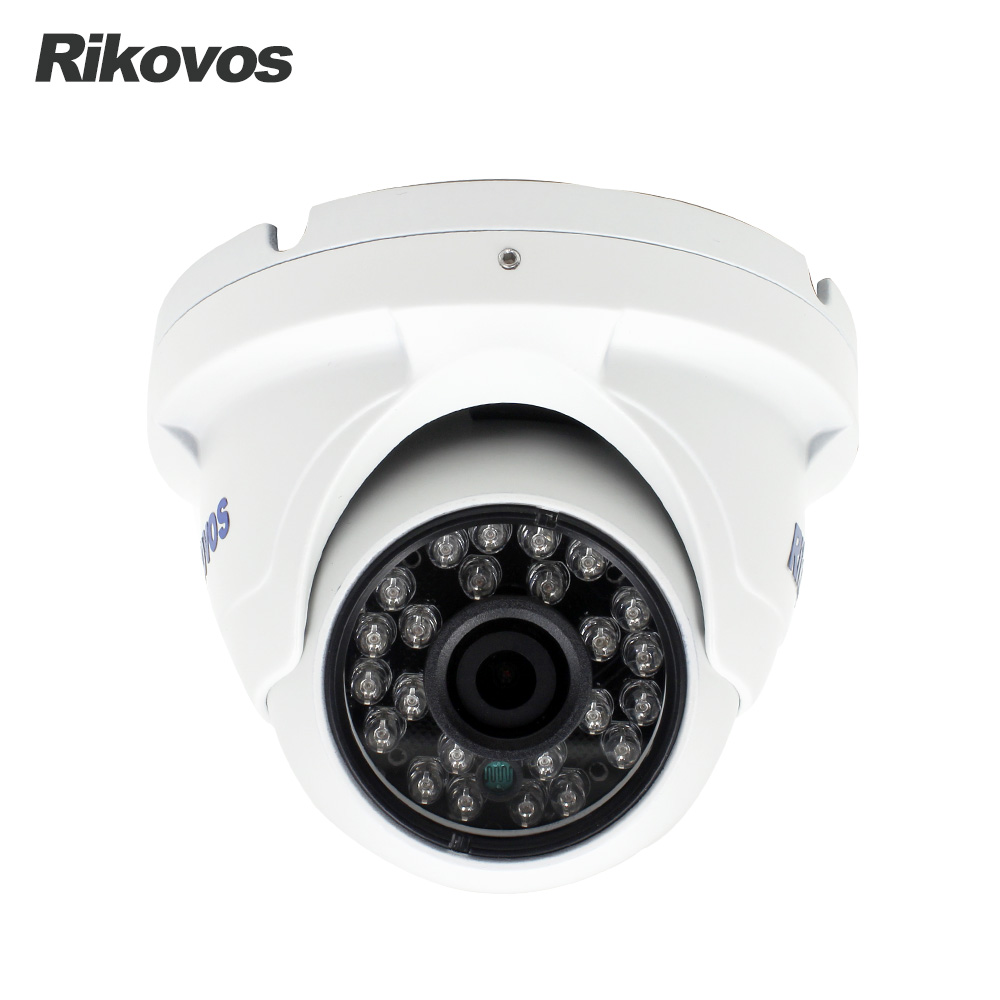 Rikovos HD 1080P IP Camera  Vandalproof Dome Surveillance Camera 24pcs IR LED 20M IR Night Vision P2P Onvif Security Camera 4 in 1 ir high speed dome camera ahd tvi cvi cvbs 1080p output ir night vision 150m ptz dome camera with wiper