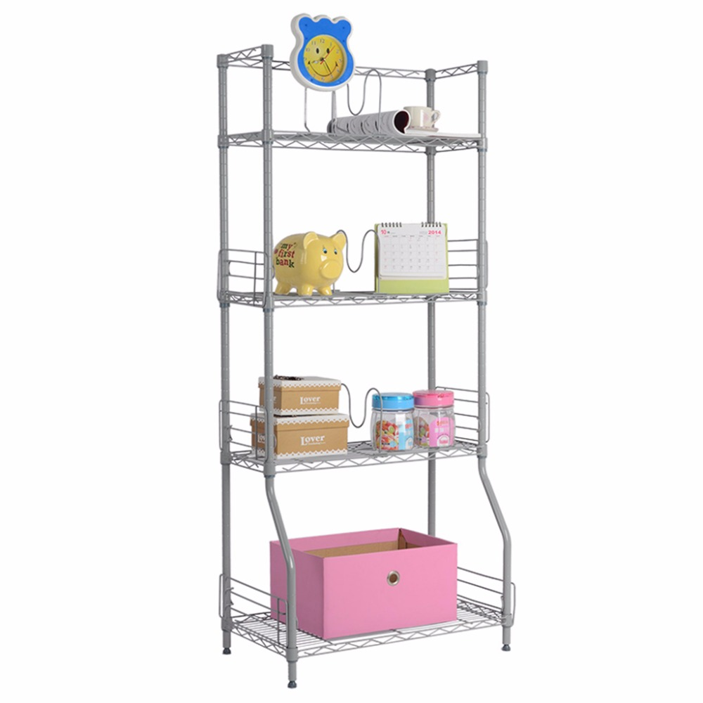 Langria 4 Tier Classic Metal Wire Bookshelf Storage Rack Shelving ...