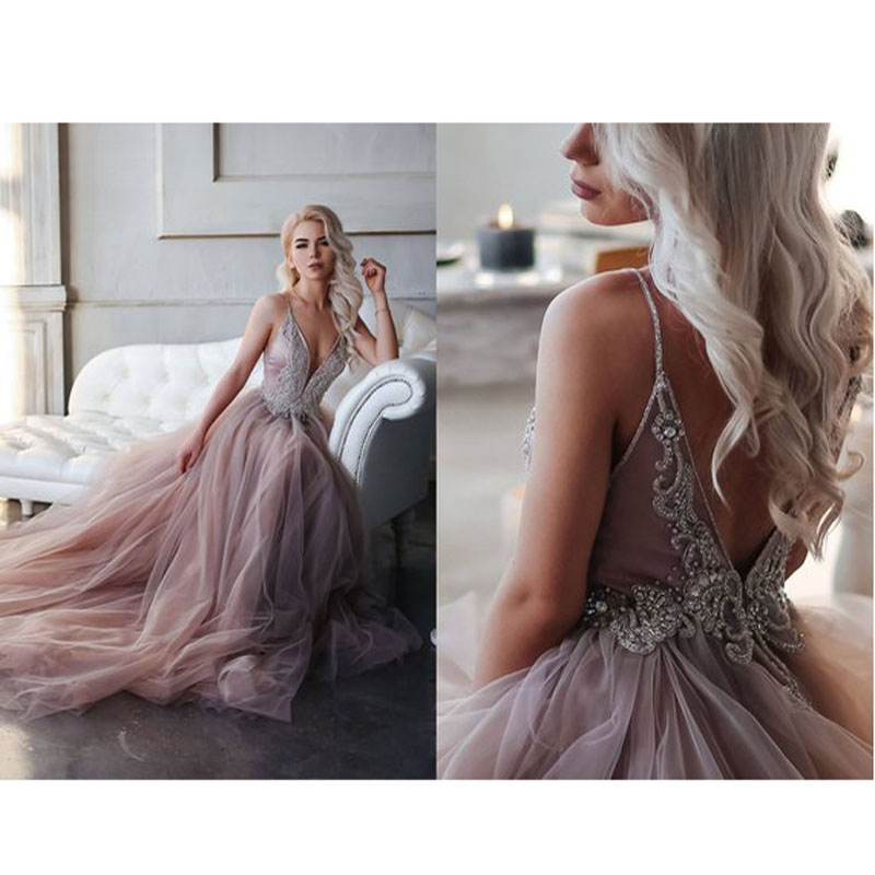 Pretty 2018 Sparkly Crystal Beaded Long Formal Party Dresses New Dusty Pink A line Backless Long
