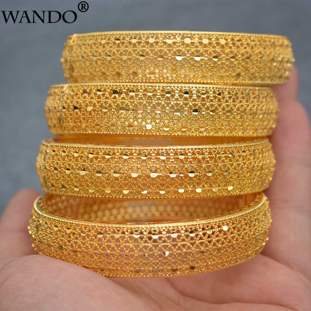 Wando 4pcs/lot 24kGold Bangle for Women Gold Dubai Bride Wedding Ethiopian Bracelet Africa Bangle Arab Jewelry Gold Charm wb97
