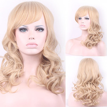 55cm Fashion Synthetic Lace Front Wig Long Curly Wavy Cosplay Wigs For Women Wigs Hair Wig Girl Gift Light Golden HB88