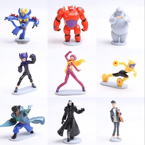 2015 9pcs/<font><b>lot</b></font> <font><b>Big</b></font> <font><b>Hero</b></font> <font><b>6</b></font> PVC <font><b>figures</b></font> Hiro Fred Baymax Tomago Honey lemon Wasabi friends <font><b>Action</b></font> <font><b>Figure</b></font> Doll Toys Free Shipping