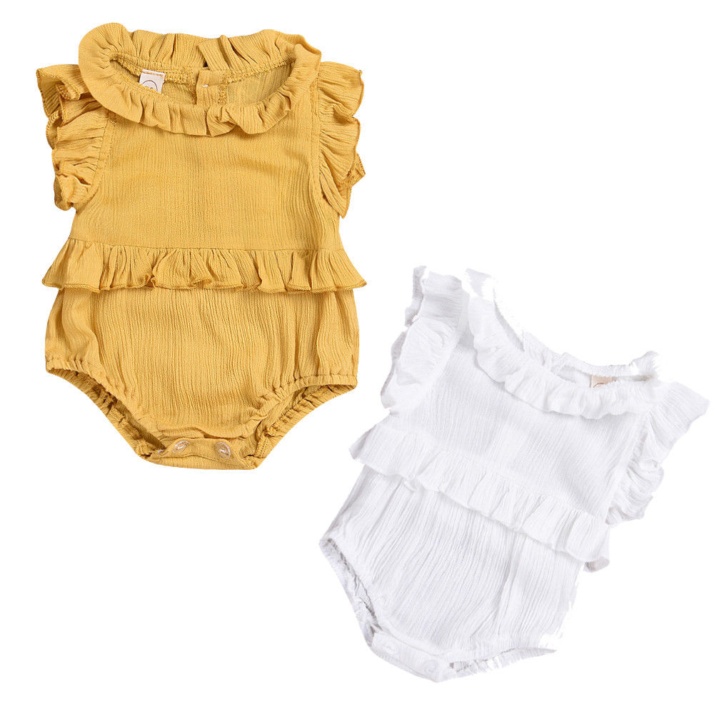 Summer Newborn Baby Girl Romper Clothes Summer Ruffled Sleeve Solid Bebes Rompers Toddler Kids Jumpsuit Outfits Sunsuit