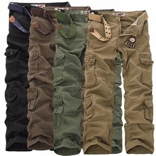 2018 Mens Military Cargo Pants Multi-pockets Baggy Men Cotto