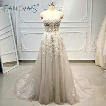 Пляж бохо свадебные платья бисером Кристалл кружева Vestido de Novia Longo gelinlik vestido casamento robe de mariee