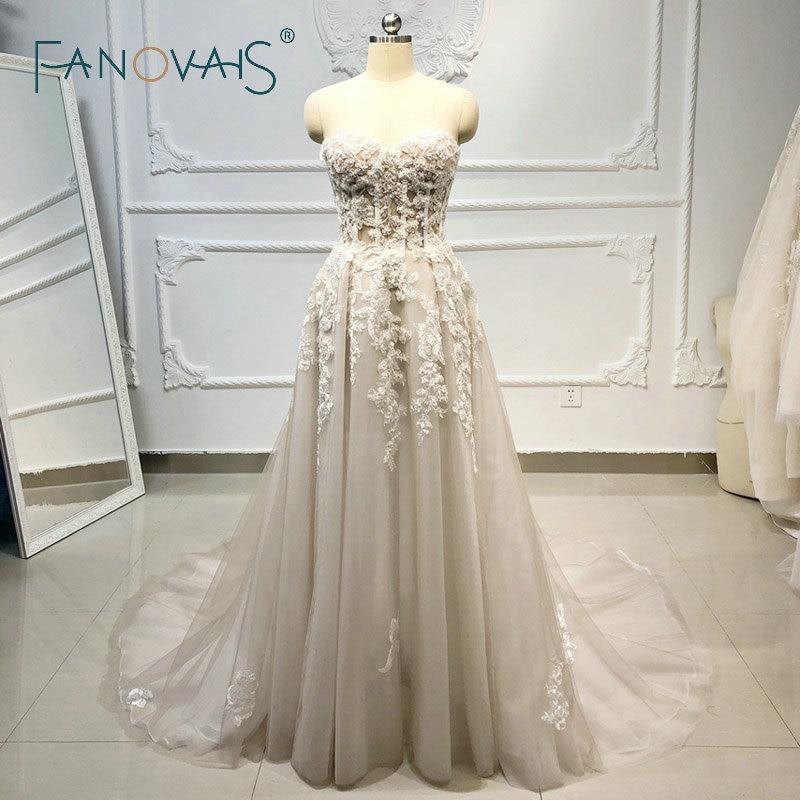 Plage Boho robes de mariée 2019 perlé cristal dentelle Vestido de Novia Longo gelinlik vestido casamento robe de mariee