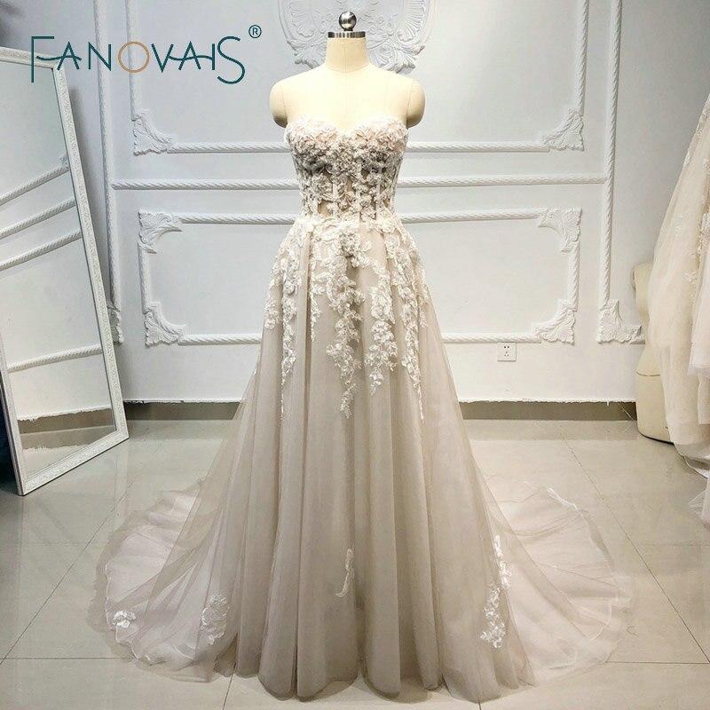 Praia Boho Vestidos de Casamento 2019 Frisado de Cristal Lace Vestido de Novia Longo gelinlik casamento vestido de noiva robe de mariee