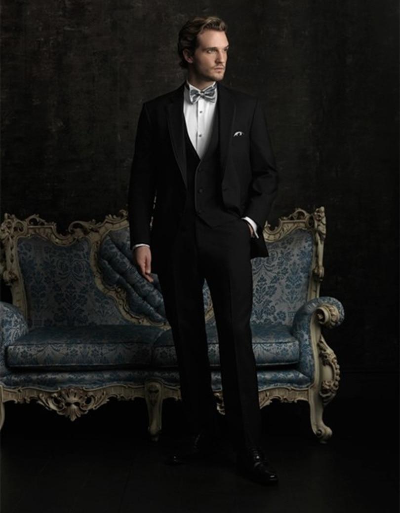 Заказ классический - жених - смокинги мужчин на заказ жених носить черное трех частей шерстяные костюмы бесплатная доставка