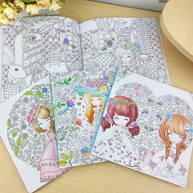 50Pages Beautiful Girl Colouring Book Coloring For Relieve Stress Kill Time Graffiti Painting Drawing