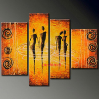 Hand Painted Abstract Modern Indian Portrait Sexy Nude Women Figure Oil Painting Handmade Wall Artwork Canvas Picture Decorative