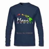 재미 티 셔츠 휴일 셔츠 마우이 하와이 슬림 맞는 청소년 쿨 티 탑 3d 인쇄 남성 긴 소매 T 셔츠