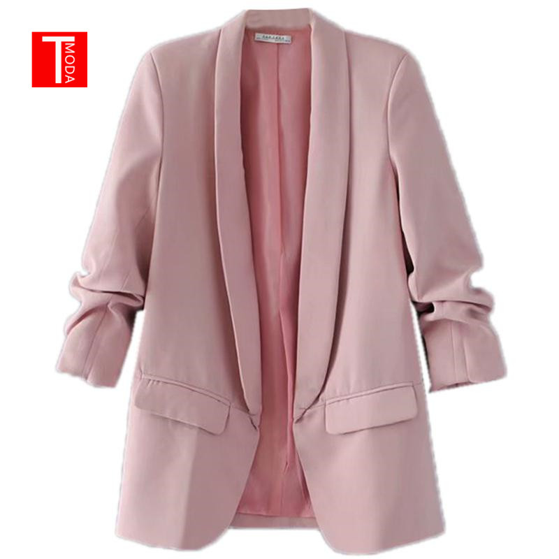 Autumn Blazer Workwear Collar Long-Sleeve Pink Elegant Office Ladies Women 7-Colors Fit title=