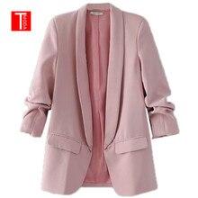 TMODA303 różowy duży kołnierz elegancka biurowa, damska odzież robocza marynarka z długim rękawem regularny krój minimalistyczna damska jesienna marynarka 7 kolorów