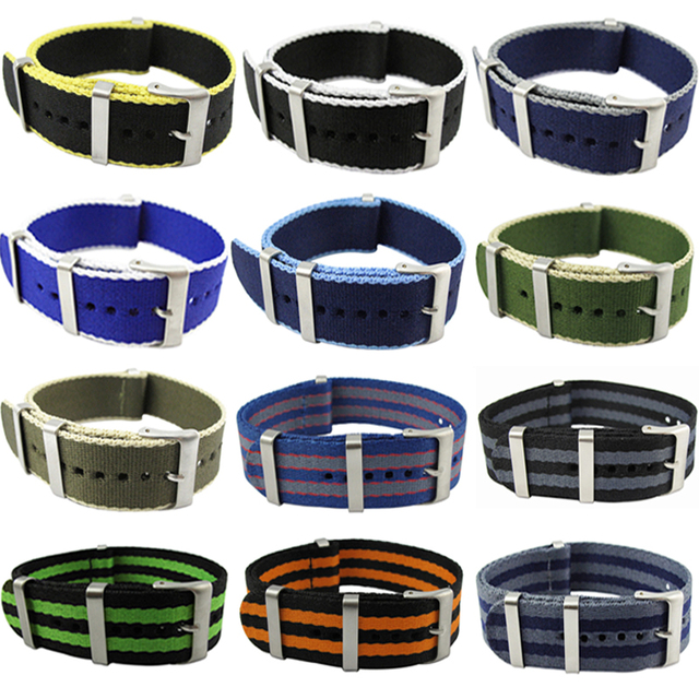 Hight Quality 20mm 22mm Watchband 30cm Nato Nylon James Bond 007 Military Casual Watch Strap Waterproof Army Sport Watch Band