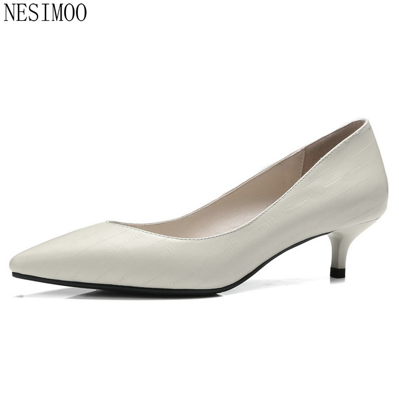 NESIMOO 2018 Spring Women Pumps Pointed Toe Thin Med Heel Genuine Leather Slip on Ladies Wedding Shoes Size 34-41 fashion women ladies pumps solid color spring summer pointed toe thin heel shoes new arrival high quality brand slip on pumps
