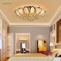 Rond doré Lotus cristal plafonnier maître chambre lampes LED plafonniers salon lumières Restaurant éclairage 110-220V