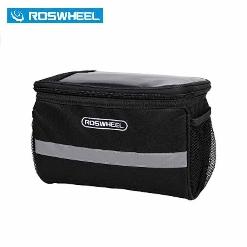 Bolsa de Manillar de bicicleta de montaña ROSWHEEL, funda de teléfono para bicicleta de montar, bolsa de herramientas, bolsa frontal para bicicleta de ciclismo, funda/cesta Sacoche Velo
