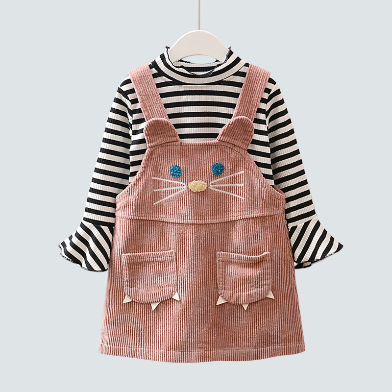 Girl Dress Children Casual Harness Dress Baby Girl Long Sleeve Shirts Kids Clothes Stripe T shirt For Girls New Princess Dresses family fashion summer tops 2015 clothers short sleeve t shirt stripe navy style shirt clothes for mother dad and children