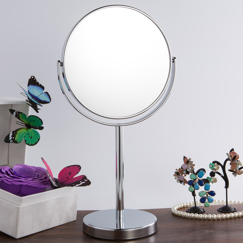 SpringQuan New 7 inch Cosmetic mirror desktop European large metal mirror 2-Face Hd anti-fog mirror 3X zoom Frame as a whole